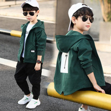 New Children's Hooded Jacket Hooded Zipper Boy Windbreaker Jacket with Letter Print Children Boys Clothing Jacket for Boy недорого