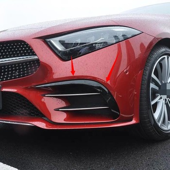 Para Mercedes cls 2018 2019 accesorios cls c257 parachoques frontal modificado pegatinas de coche luces de niebla tira brillante decorativa