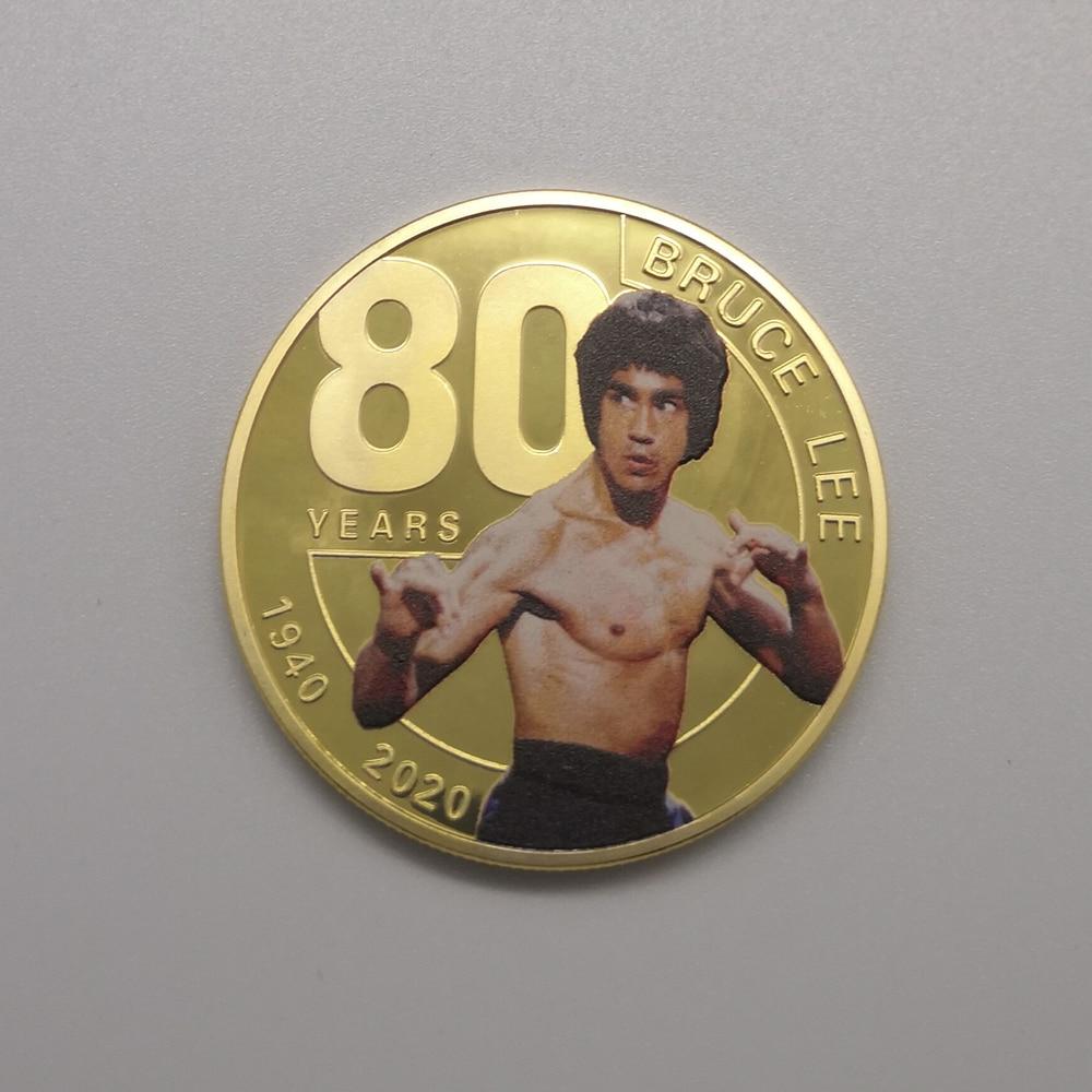 Новый дизайн Брюс Ли 80 летняя Золотая Серебряная Памятная Монета Китайский дракон металлический вызов коллекция монет Безвалютные монеты      АлиЭкспресс