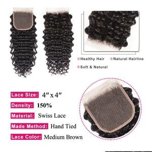 Image 3 - Brazilian Deep Wave Bundles With Closure Remy Human Hair Bundles with Closure Pre Plucked Julia Lace Closure with Weave Bundles