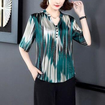 Korean Silk Women Blouses Shirt Woman Satin Blouse Tops Ladies Striped Silk Blouse Top Plus Size Wome V Neck Print Satin Blouses plus embroidered square neck striped top