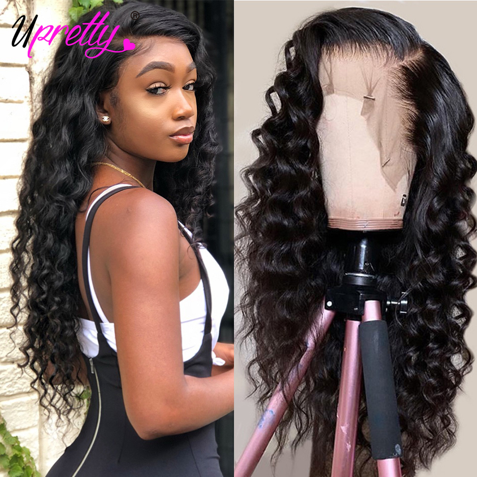 Upretty Lace Front Human Hair Wig Loose Deep Wave 360 Lace Frontal Wig Pre Plucked With Baby Hair 250 Density Lace Front Wigs