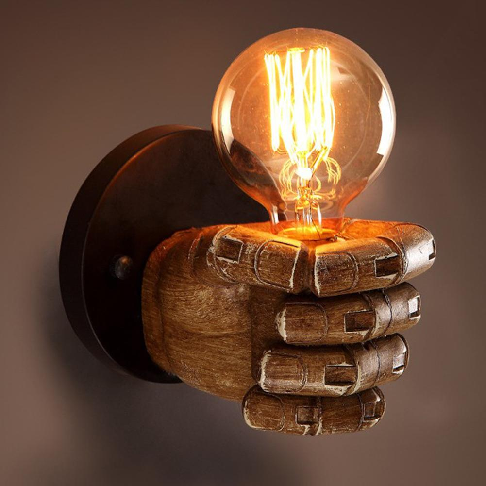 Antique Fist Shape Wall Lamp LED Retro Loft Innovative Bar Restaurant Cafe Decorative Lamp Resin Engraving Process
