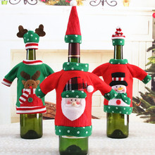Christmas Wine Bottle Cover Set Clothes Hat Embroidery Cartoon Day Decoration New Year