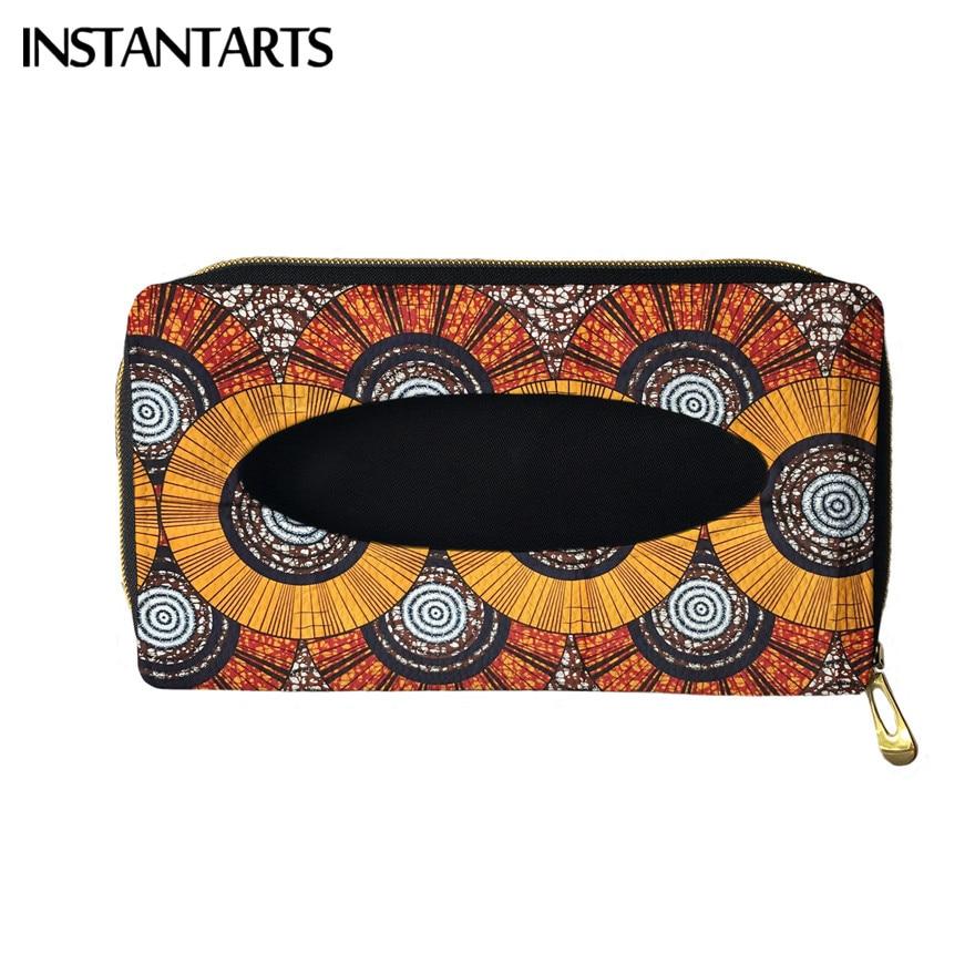 INSTANTARTS AfricanDashikiPrint Auto Interior Storage Decoration Tissue Holder PU Leather Hanging Bag Car Tissue Box