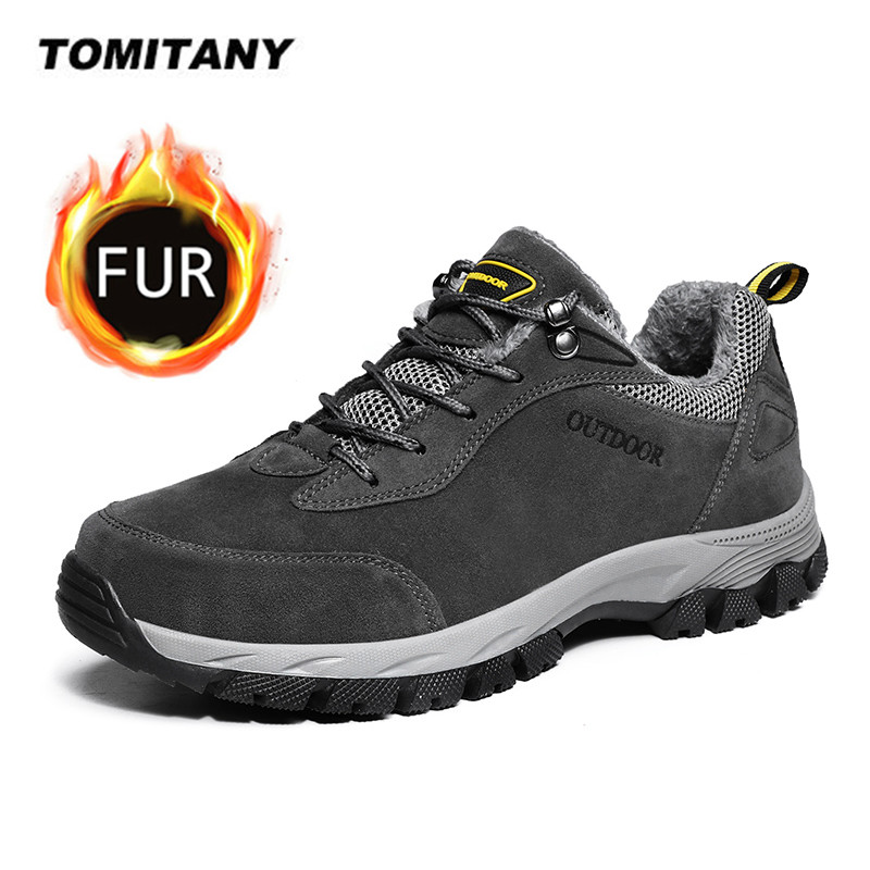 Winter Men's Snow Boots Plush Warm Outdoor Ankle Boots Men Lace-Up Non-slip Shoes Breathable Sneakers Mens Climbing Hiking Shoes