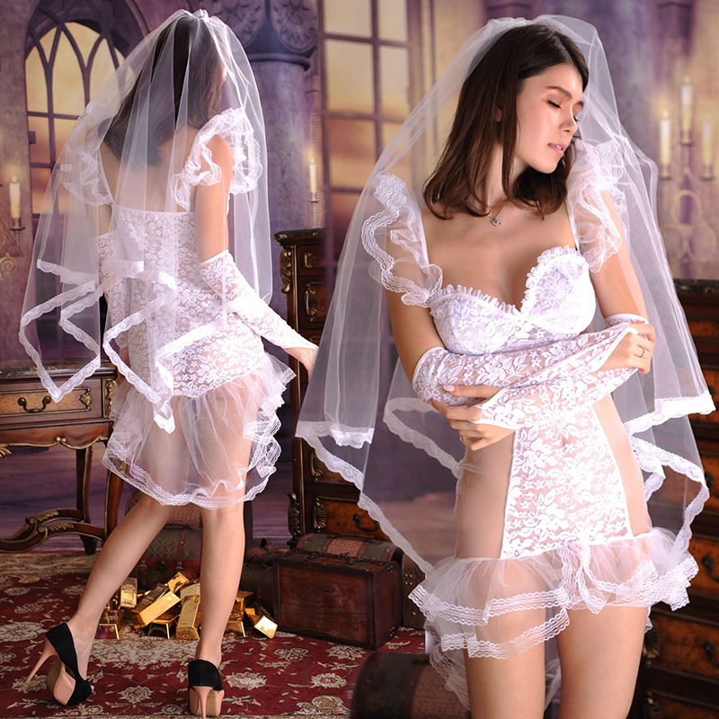 HKMN New <font><b>Sexy</b></font> Underwear White Wedding Dress Set Women Erotic <font><b>Lingerie</b></font> Transparent Panties <font><b>Cosplay</b></font> Costumes BDSM Baby <font><b>Dolls</b></font> Mujer image