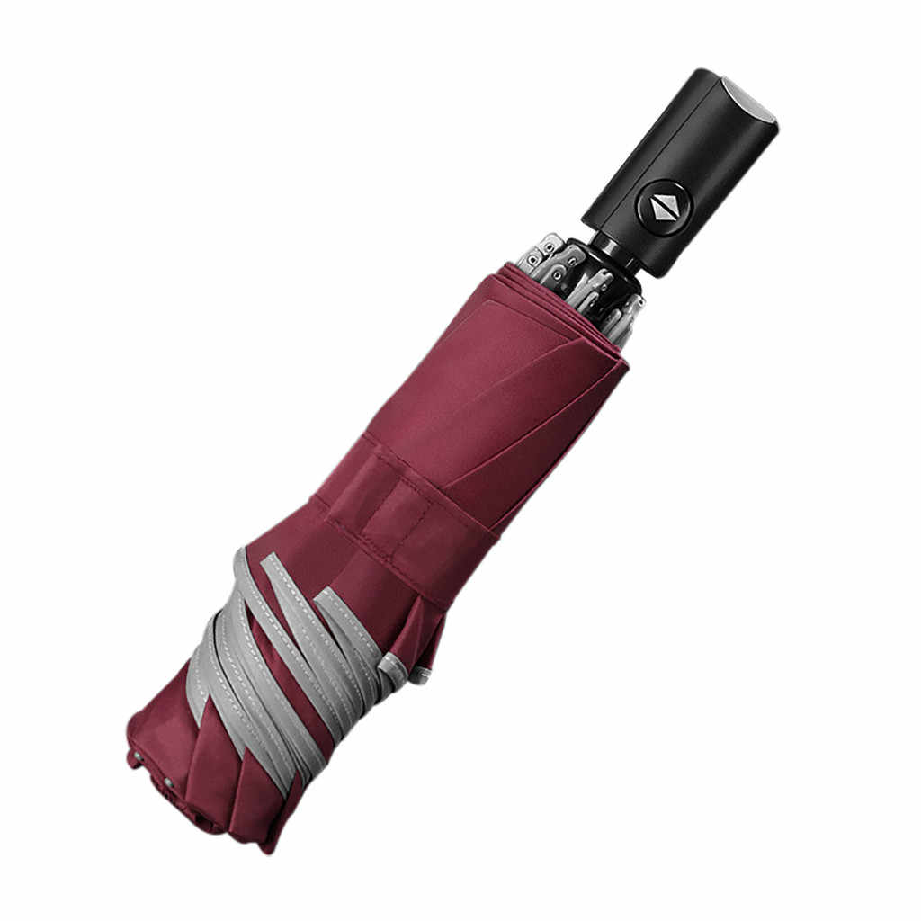 Otomatis Payung Reverse Lipat Bisnis Payung dengan Strip Reflektif Payung Hujan untuk Pria Wanita Hitam Coating 2020