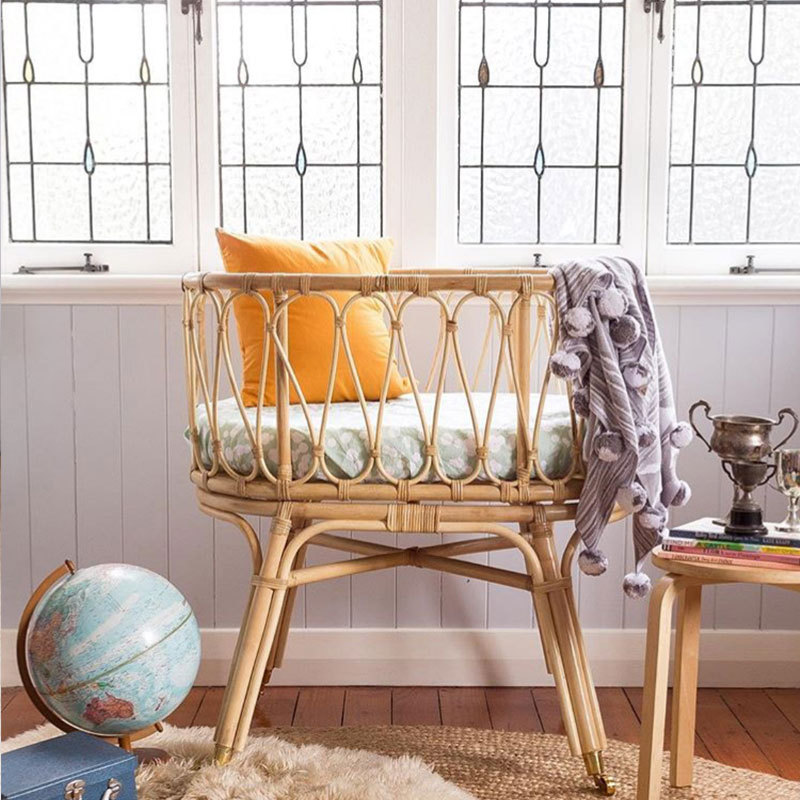 Handmade Really Rattan Baby Bed Fence Safety Gate Products Child Baby Protection Bed  Twin Bed With Guardrail Baby Basket Bed