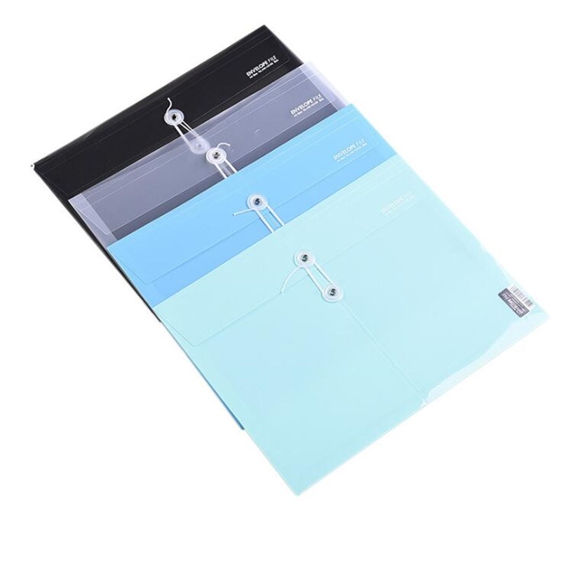 New 4PC/sets 4 Colors A4 Horizontal Wound File Bag PP Folder Plastic File Bag Student Paper Material Bag Office Storage Bag