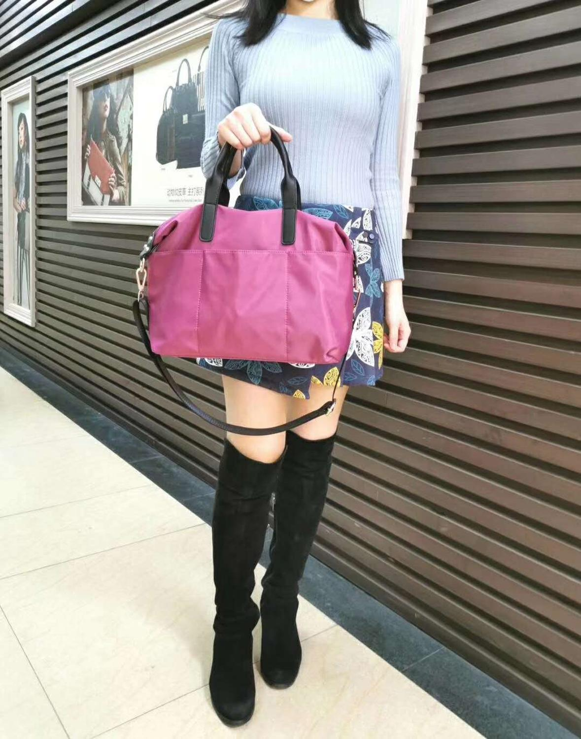 Nylon Waterproof Woman Messenger Bag Pure Color Polyester Big Handle Woman Tote Bags