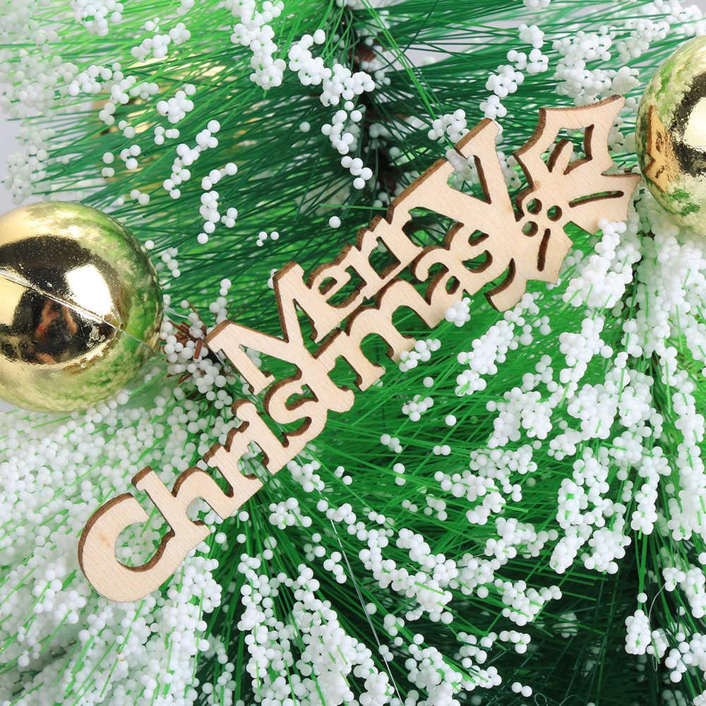 10 pz/pacco Fetta di Taglio Laser di Legno Appeso Ornamenti Di Buon Natale Artigianato Lettera Intagliare Pezzi di Legno di Artigianato Decorazione di Natale
