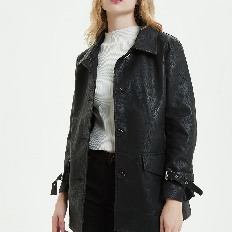 2019 Spring Autumn Coat Women 39 s PU Faux Leather Jacket Long Single Breasted Loose Motorcycle Jackets Coats Lapel Belt Clothing in Leather Jackets from Women 39 s Clothing