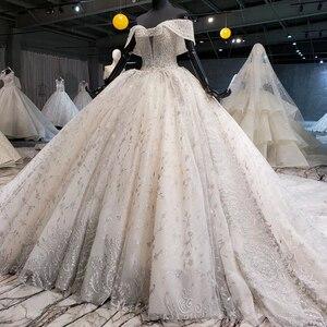 Image 3 - HTL1037 2020 새로운 볼 가운 웨딩 드레스 아가씨 칼라 어깨 위로 레이스 위로 디자인 웨딩 드레스 vestido de noiva