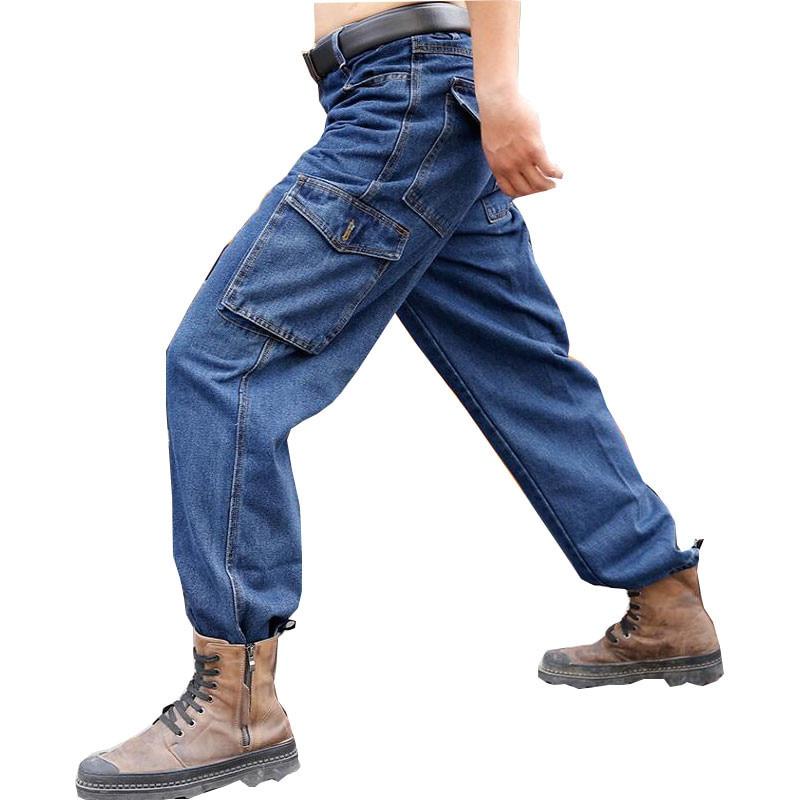 Labor Insurance Work Pants Men's Cotton Thick Wear-resistant Denim Welding Workwear Welder Anti-scalding Workers Loose Jeans