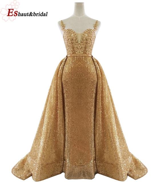 2020 新着ゴールドスパンコールイブニングドレス V ネックノースリーブ取り外し可能な岬ロングパーティーウェディングドレス
