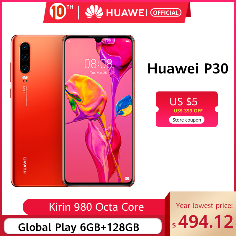 Original Huawei P30 6GB 8GB 128GB Kirin 980 Smartphone 30x Digital Zoom Quad Camera 6.1'' Full Screen OLED NFC 3650mAh