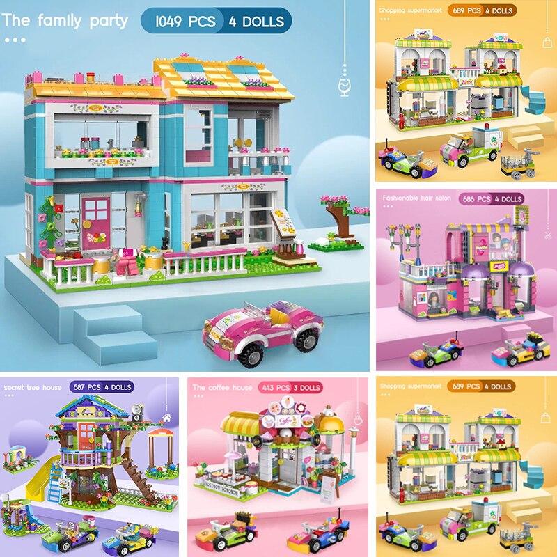 1049 шт. Совместимость друзья дерево дом строительные блоки девушки блоки для самостоятельной сборки дом модель с Фигурки игрушки для Детски...