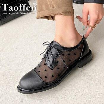 Taoffen Women Fashion Flat Shoes Stylish Round Toe Square Low Heels Shoes Women Genuine Leather Cross Strap Footwear Size 33-40