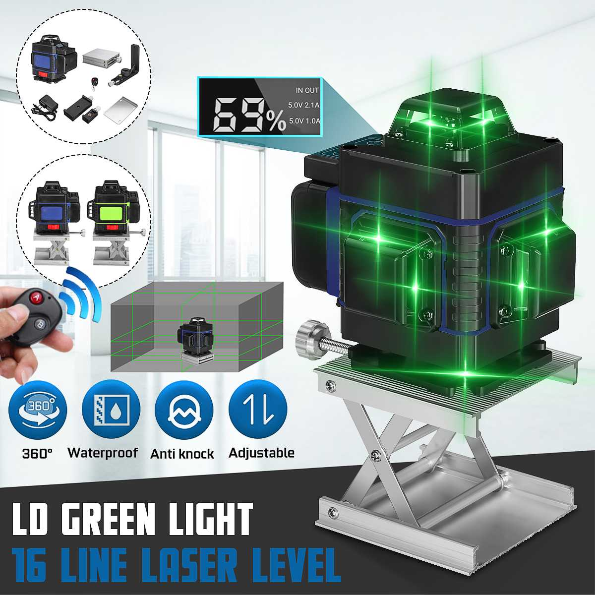 Laser Level 16 Lines 3D Self-Leveling 360 Horizontal And Vertical Cross Super Powerful Green Laser Beam Line