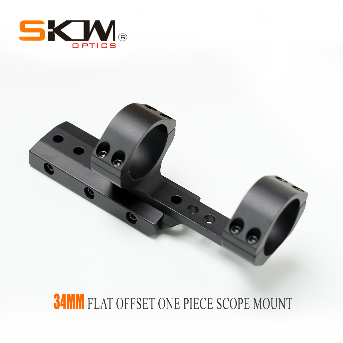 SKW AR15 M4 Flat Offset One Piece Scope Mount 34mm Mount For 1913 Picatinny Rails  34MM Rings