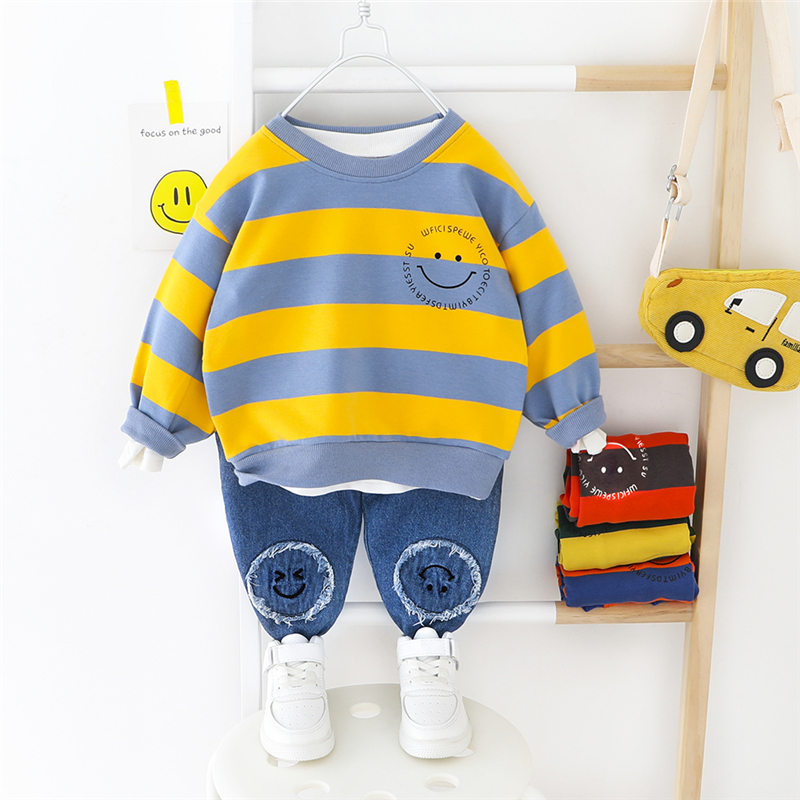 HYLKIDHUOSE 2020 Spring Baby Girls Boys Clothing Sets Stripe T Shirt Jeans Children Kids Clothes Toddler Infant Casual Clothing