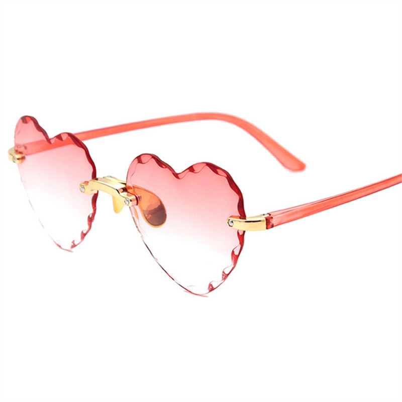 Women Rimless Sunglasses Fashion Heart-shaped Sun Glasses for Wome Vintage Cute 90s Gradient Shades Eyeglasses  UV400 8