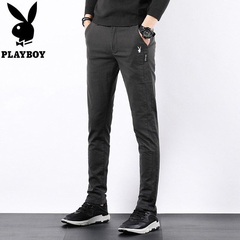 -P57 PLAYBOY 1953 Casual Pants Men's Slim Fit Elasticity Men Trend Korean-style Large Size Pants