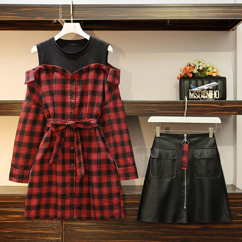 Chic Plaid Shirt 2 Piece Set Women Korean Style 4XL Plus Size Set Off Shoulder Tops And Leather Skirt Set 2 Piece Winter Outfit