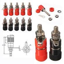 10 pces 4mm vermelho & preto banana soquete profissional ligação pós porca banana plug jack conector niquelado para 4mm banana plug