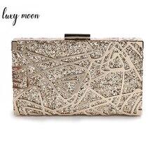 Bolso de mano de Metal geométrico dorado para mujer, pochette de lentejuelas de alta calidad, bolso de lujo, bolso de hombro de diseñador ZD1349