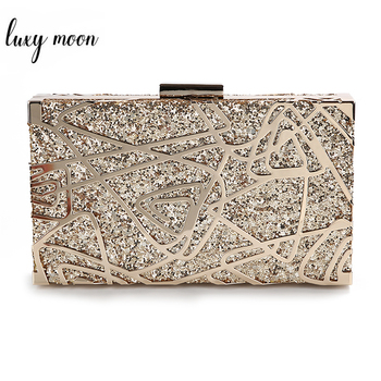 Metal Geometric Gold Clutch Bags High Quality Sequin Clutch Purse Luxury Handbag Women Bags Designer Shoulder Bag ZD1349