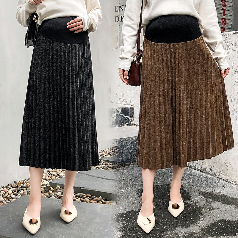2015# Pleat Woolen Maternity Skirts A Line Loose Elastic Waist Adjustable Belly Skirt For Pregnant Women Autumn Winter Pregnancy