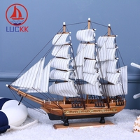 LUCKK 50CM Large Retro Sailboat Ornaments Decoration Ships Model Room Office Desk Nautical Figurine Wood Crafts Business Gifts