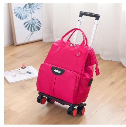 Wheeled Bag For Travel Trolley Bags Women Travel Backpack With Wheels Oxford Large Capacity Travel Rolling Luggage Suitcase Bag