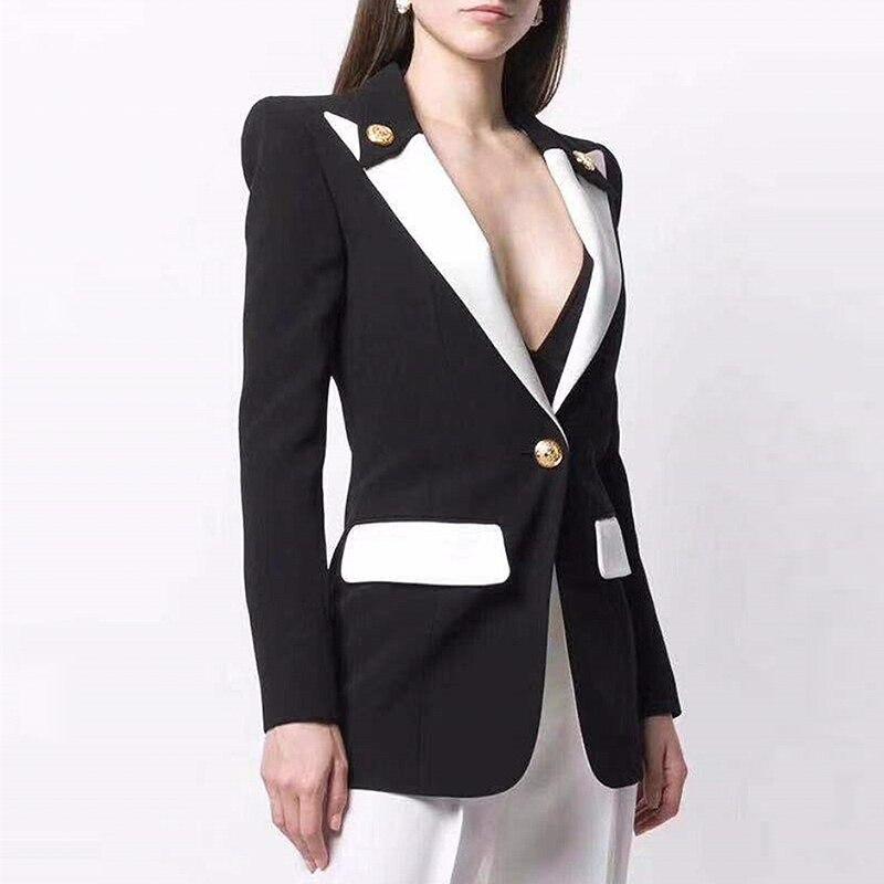 HIGH STREET Newest 2019 Baroque Designer Blazer Women's Lion Buttons Single Button Color Block Stylish Blazer Jacket