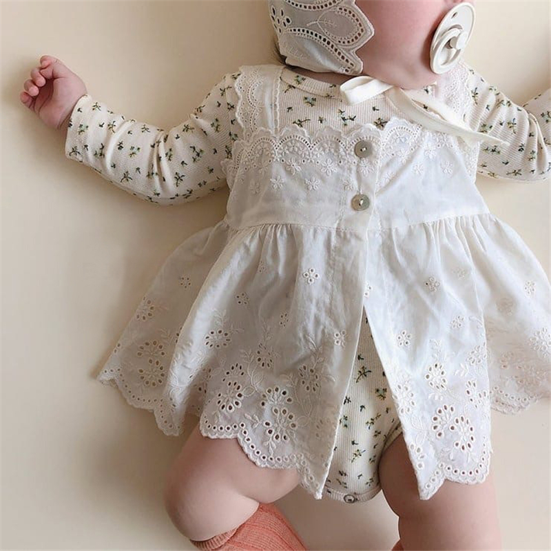 EnkeliBB 3 Month Baby Girl Floral Bodysuit And Dress Sets Beautiful Baby Girl Birthday Wear Infant Lace Clothing Sets