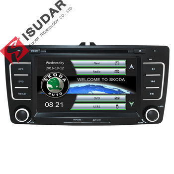 Isudar Car Multimedia player GPS Autoradio 2 Din 7 Inch For SKODA Octavia 2009-2013 Bluetooth IPOD FM Radio RDS WIFI DVR SD