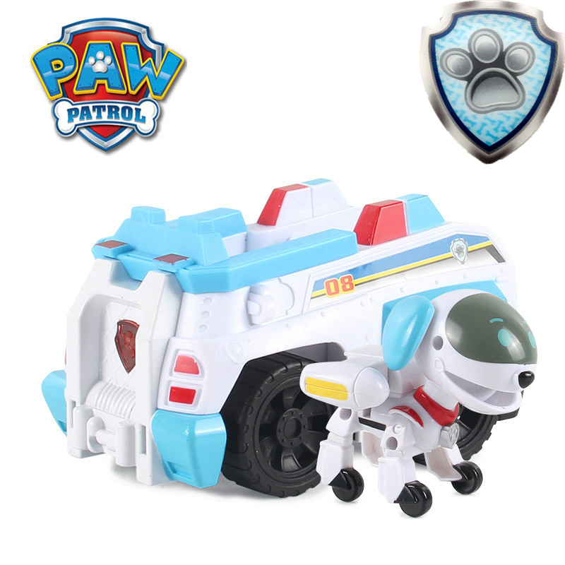 Paw Patrol Sound And Light Rescue Robot Dog Car Patrulla Canina Juguete Action Figure Toys For Children Gifts 7D08