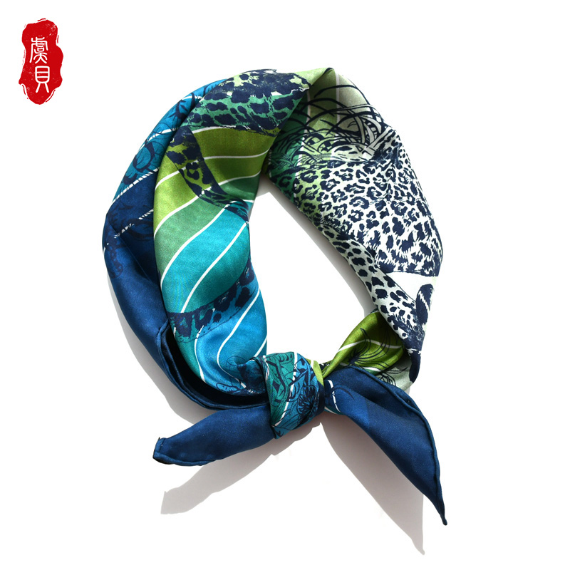 Luxury Blue Red Stripe Natural Silk Scarf Printed For Women 100% Real Silk High Quality Medium Square Wrap Shawl Gift For Lady