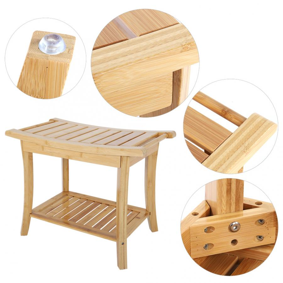 Bathing Stool Natural Bamboo Anti-slip Shower Bathroom Spa Bath Organizer Stool W/ Storage Shelf