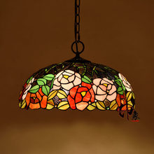 16inch Tiffany Flower Stained Glass Suspended Luminaire E27 110-240v Chain Pendant Lights For Home Parlor Dining Room luminaire(China)