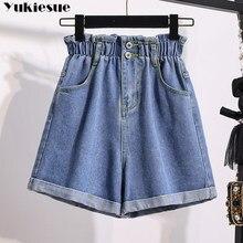 2021 verão cintura alta denim shorts feminino casual solto senhoras moda rolo para cima hem cintura elástica jeans feminino plus size S-5XL