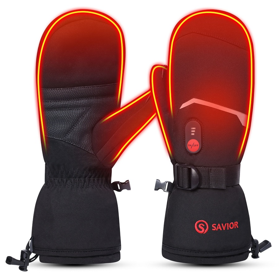 SAVIOR HEAT Heated Ski Gloves Heated Mittens for Men Women 7.4V Rechargeable Battery Gloves for Skiing Hiking