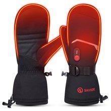 救世主熱温水スキー手袋温水ミトン男性の女性のため7.4v充電式バッテリー手袋スキーハイキング