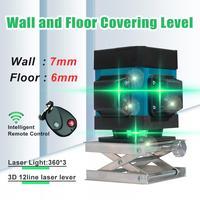 12 linie Grünes Licht Laser Ebene Hohe Präzision Flache Glare Boden Fliesen Nivellierung Instrument Boden Linie Intelligente Fernbedienung