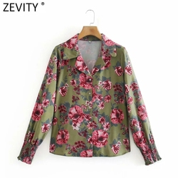 Zevity 2021 Women Fashion Floral Print Turn Down Collar Smock Blouse Female Elastic Sleeve Cuff Shirts Chic Blusas Tops LS7683