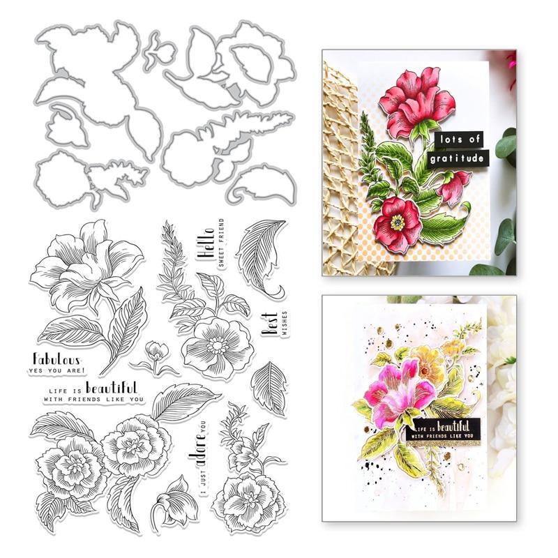 Eastshape Flower Plant Clear Stamps And Metal Cutting Dies Leaves Scrapbooking New Craft Dies Set Album Embossing Cut Stencils