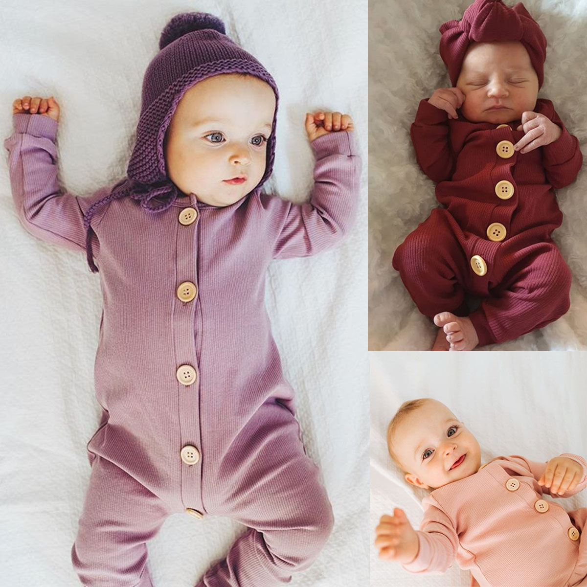 H24781133b9cf4fa9859df97d2b1ce7a09 Spring Fall Newborn Baby Girl Boy Clothes Long Sleeve Knitted Romper + Headband Jumpsuit 2PCS Outfit 0-24M