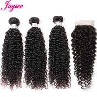 Jaycee extensiones de cabello brasileño rizado 4 mechones con cierre de encaje no Remy extensiones de cabello humano con cierre pelo natural